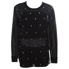Isabel Marant Black Sheer Silk Crystal Embellished Long Sleeve Golin Blouse S