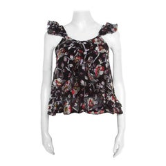 Isabel Marant Black Sheer Silk Floral Fil Coupé Piety Top M