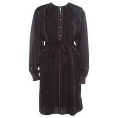 Isabel Marant Black Silk Beaded Belted Long Sleeve Dress M