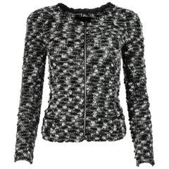 Isabel Marant Black/White Wool Blend Knit Zip Up Jacket Sz 0