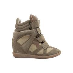 Isabel Marant Brown Suede Wedge Sneakers