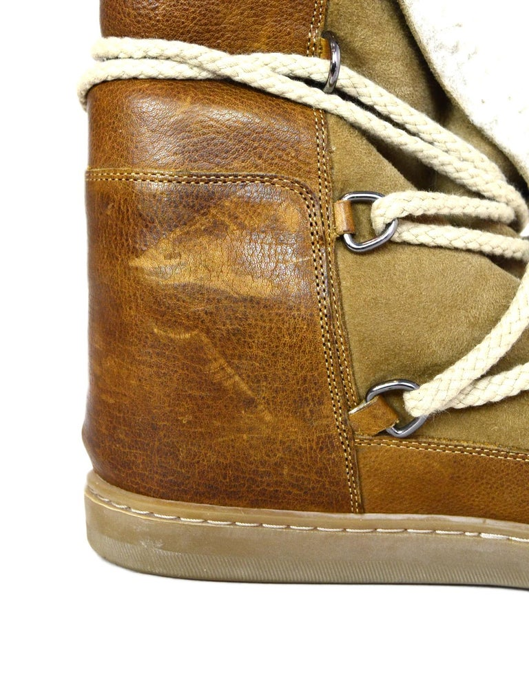 678b0376956 Isabel Marant Camel Shearling Nowles Lace Up Hidden Wedge Boots Sz 40 For  Sale 2