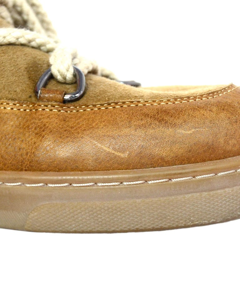 7192aa520d1 Isabel Marant Camel Shearling Nowles Lace Up Hidden Wedge Boots Sz 40 For  Sale 3