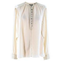 Isabel Marant Cream Bead Embellished Silk Blouse FR 38