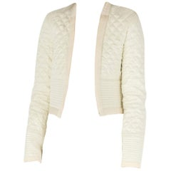 Isabel Marant Cream Jacquard Silk Quilted Structured Jacket S
