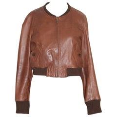 Isabel Marant Etoile Brown Sheep Leather Vintage Cropped Jacket France