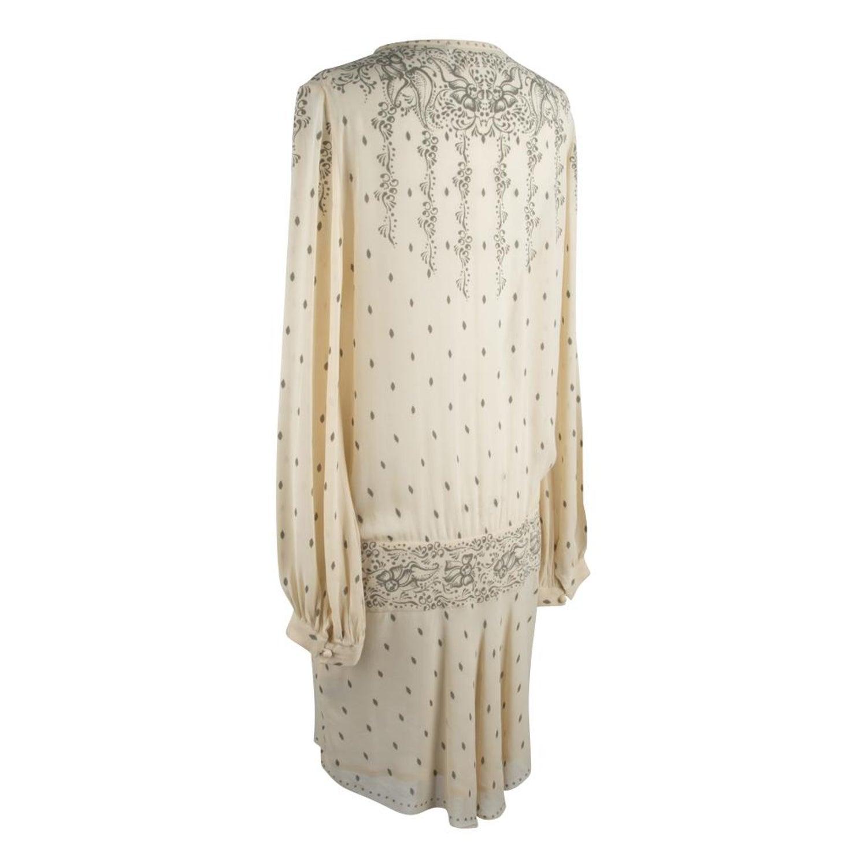 25ea3f31b50 Isabel Marant Etoile Dress Silk Printed Creme Drop Waist 42   8 at 1stdibs