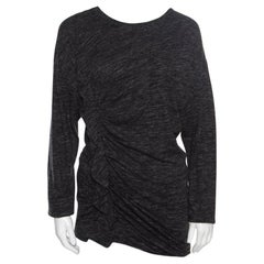 Isabel Marant Etoile Grey Melange Jersey Ruffled Long Sleeve Malo Top M