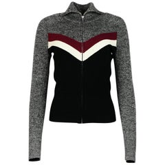 Isabel Marant Grey/Green Wool Zip Front Long Sleeve Sweater W/ Chevron Sz 38