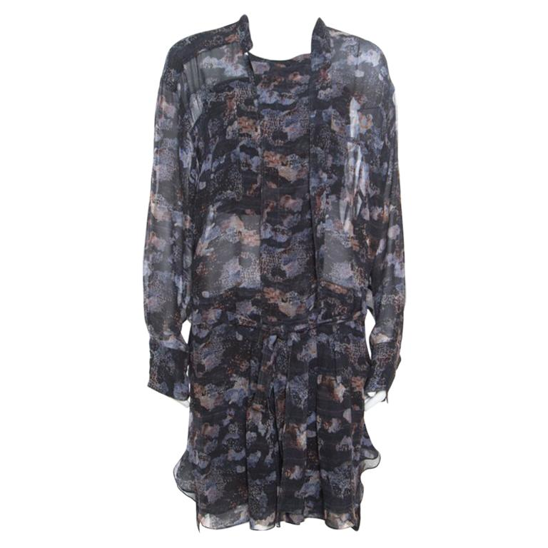 ea87bce350a Isabel Marant Grey Printed Silk Belted Carla Dress M For Sale at 1stdibs