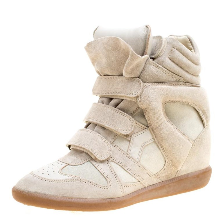 3d68bcb5a3de Isabel Marant Grey Suede Bekett Wedge Sneakers Size 41 For Sale at 1stdibs