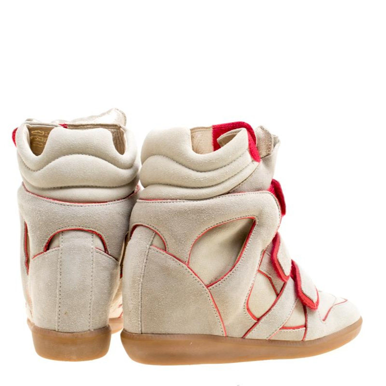 c83a1bf5fbc Isabel Marant Grey Suede with Metalllic Red Leather Trim Bekett Wedge  Sneakers S For Sale at 1stdibs