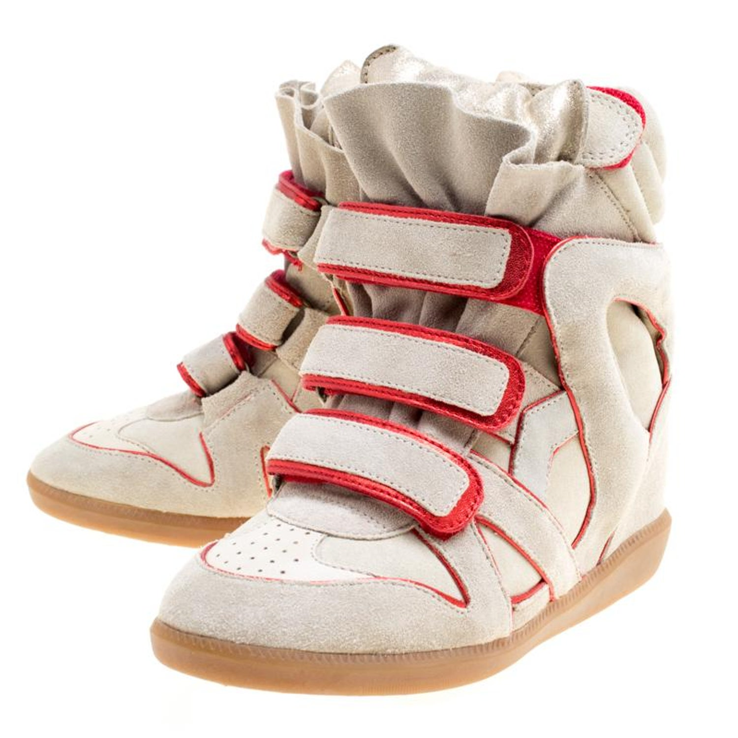 6711d965d69 Isabel Marant Grey Suede with Metalllic Red Leather Trim Bekett Wedge  Sneakers S For Sale at 1stdibs