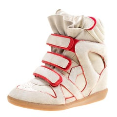 Isabel Marant Grey Suede with Metalllic Red Leather Trim Bekett Wedge Sneakers S
