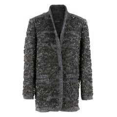Isabel Marant Gunmetal Sequin Wool Blend Jacket Size FR 36