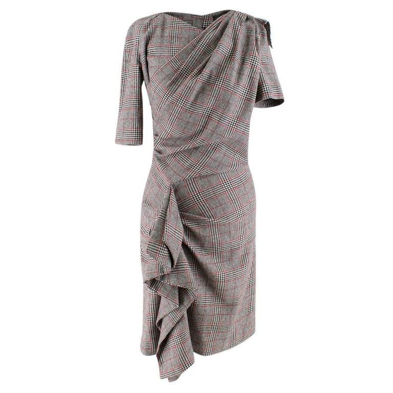 ce6ec8143d6 Isabel Marant Kinsley Asymmetric Pleated Check-Print Dress US 4 For Sale
