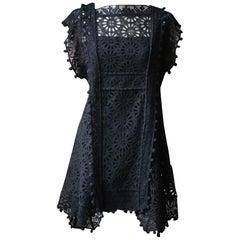 Isabel Marant Kunst Pompom Trimmed Broderie Anglaise Dress