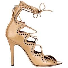 Isabel Marant 'Lelie' Lace-up Eyelet Embellished Heels 39