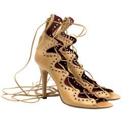 Isabel Marant 'Lelie' Lace-up Eyelet Embellished Heels Size 39