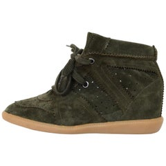 Isabel Marant Olive Green Suede Bobby Wedge Heel Sneakers Sz 41