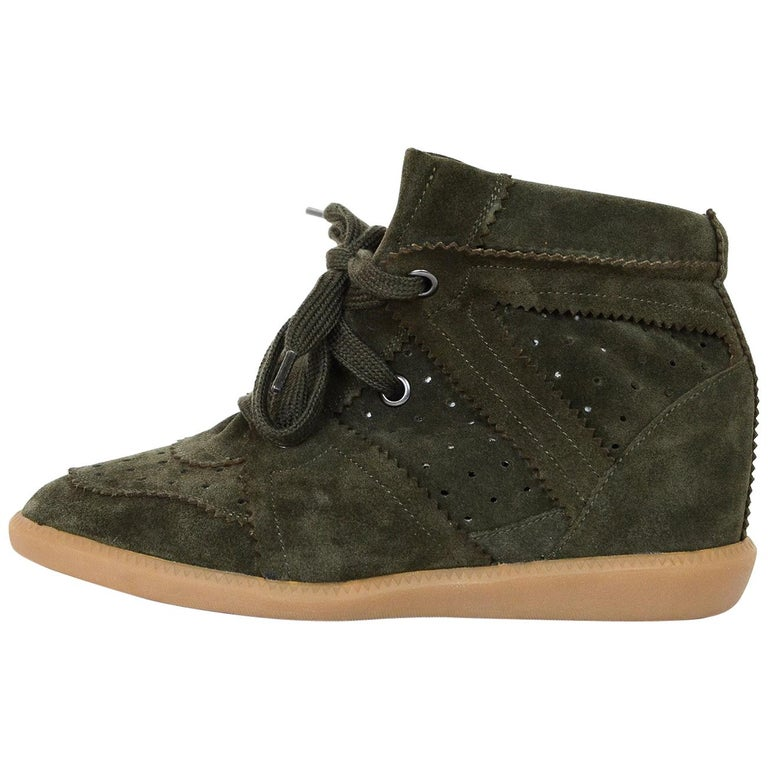 51a9bdaa5b2 Isabel Marant Olive Green Suede Bobby Wedge Heel Sneakers Sz 41 For Sale
