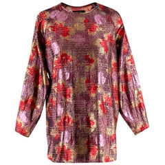 Isabel Marant Red & Pink Lurex & Silk Long Sleeve Top - Size US4