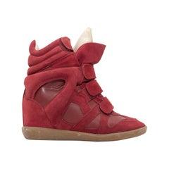 Isabel Marant Red Suede Wedge Sneakers