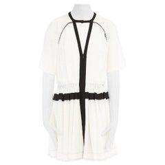 ISABEL MARANT Retra 100% silk crepe white boho flutter sleeve dress FR42 L