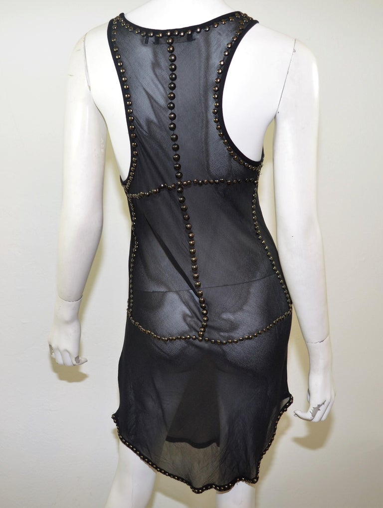 cfd1de8ca3a Isabel Marant Sheer Silk Studded Tunic Dress For Sale at 1stdibs