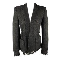 ISABEL MARANT Size 4 Black Tweed Open Front Fringe Jacket