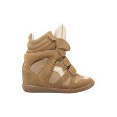 Isabel Marant Tan Suede Wedge Sneakers