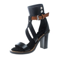 Isabel Marant Two Tone Leather Jenyd Shearling Block Heel Ankle Cuff  Size 37