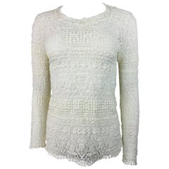 Isabel Marant White Cotton Long Sleeve Top SIze 42