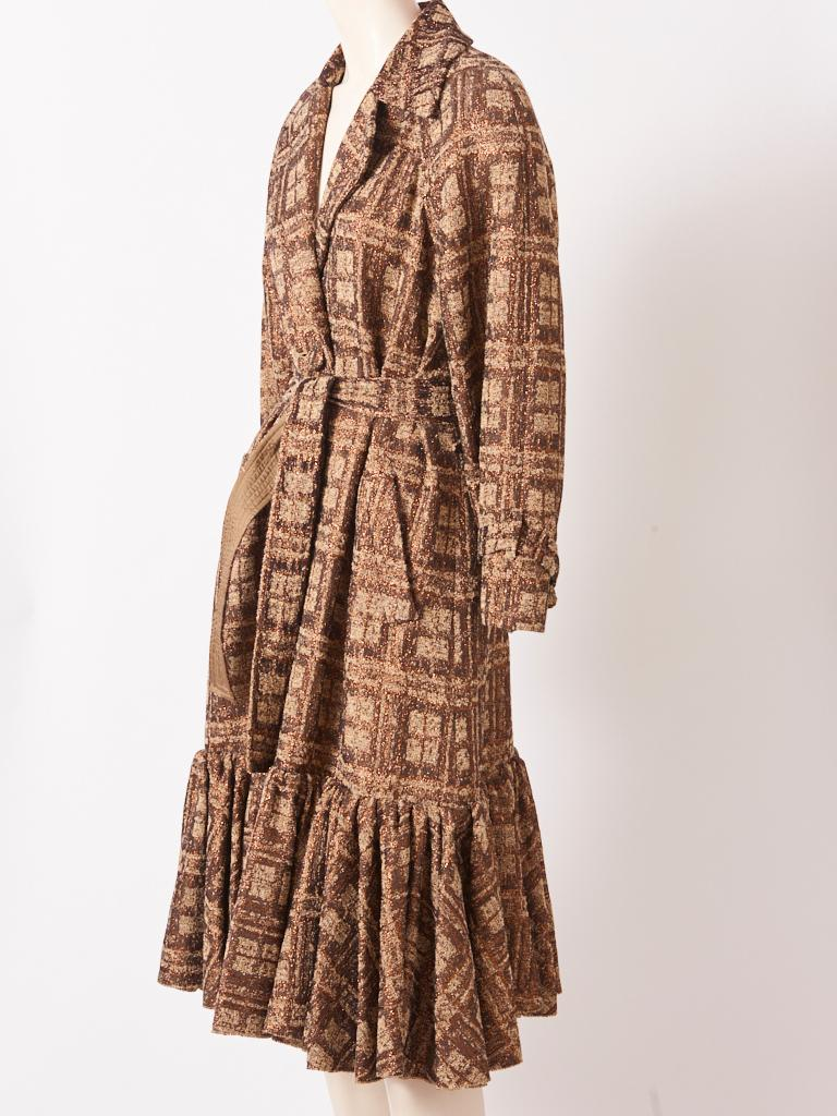 Brown Isabel Toledo Patterned Bronze with Copper Accents Belted Coat For Sale
