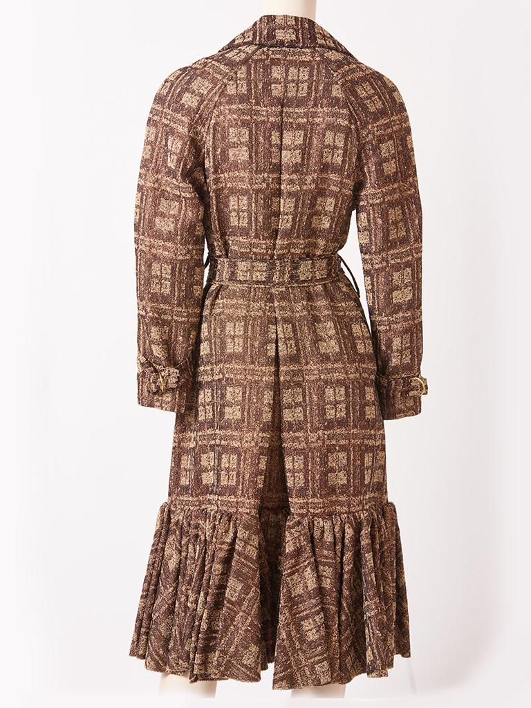 Isabel Toledo Patterned Bronze with Copper Accents Belted Coat In Excellent Condition For Sale In New York, NY
