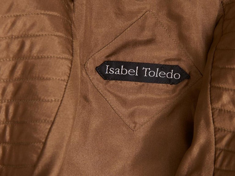 Women's Isabel Toledo Patterned Bronze with Copper Accents Belted Coat For Sale