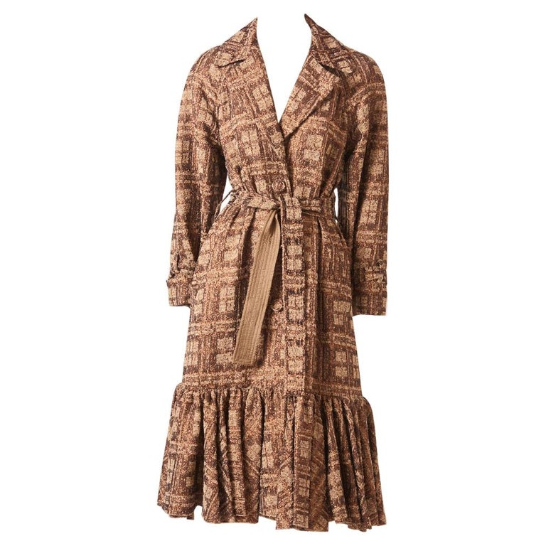 Isabel Toledo Patterned Bronze with Copper Accents Belted Coat For Sale