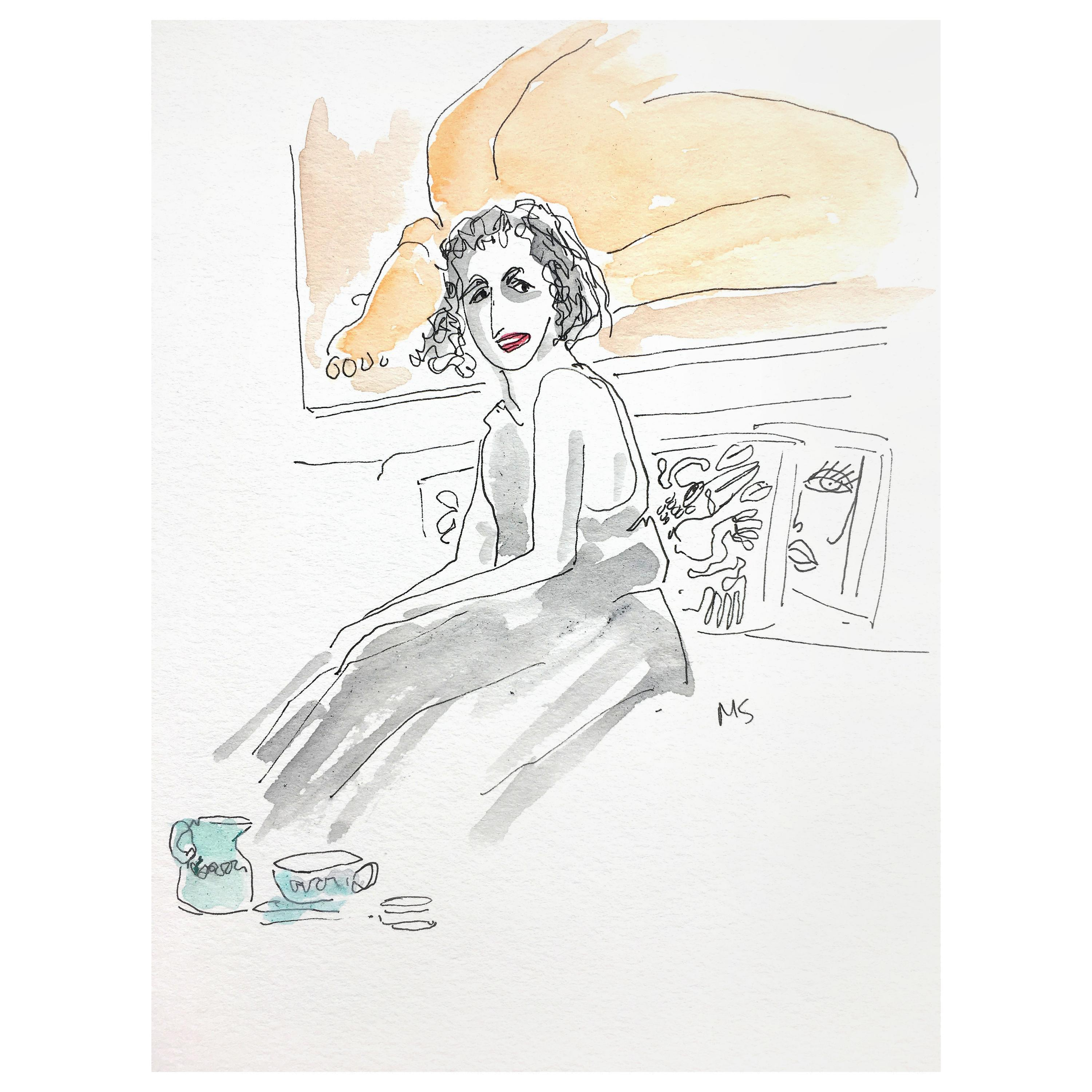 Isabella Blow at Home, 2018, Watercolor on Paper