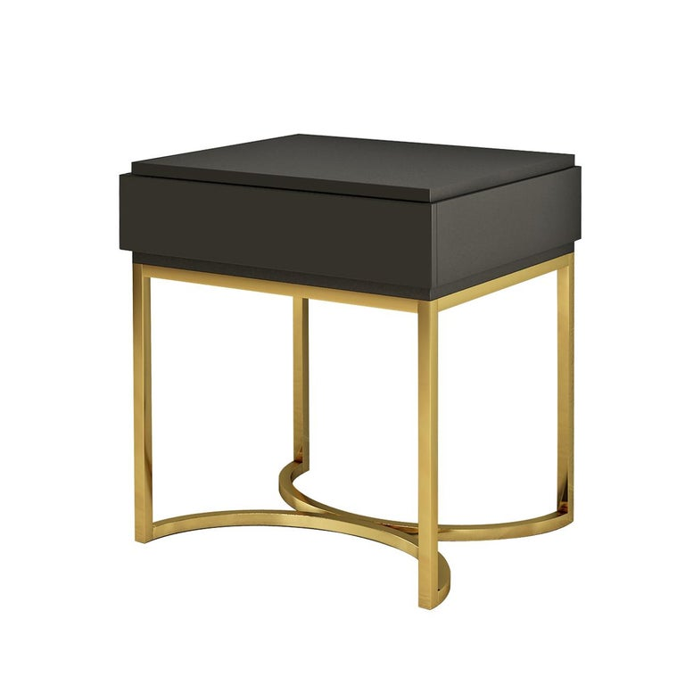 Modern Isabella Costantini, Italy, Damiano Nightstand with Brushed Brass Base For Sale