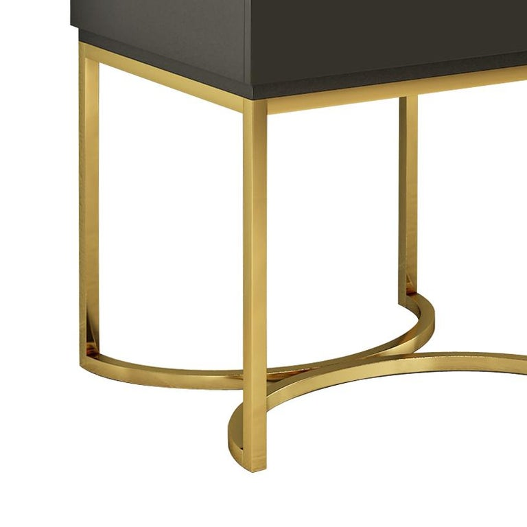 Italian Isabella Costantini, Italy, Damiano Nightstand with Brushed Brass Base For Sale