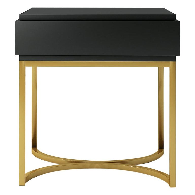 Isabella Costantini, Italy, Damiano Nightstand with Brushed Brass Base For Sale