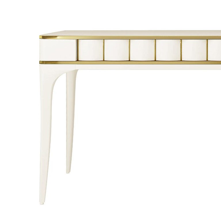Italian Isabella Costantini, Italy, Duilio Desk with Polished Brass For Sale