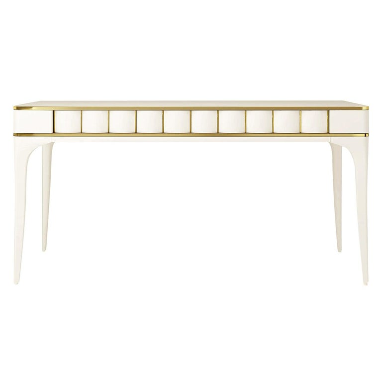 Isabella Costantini, Italy, Duilio Desk with Polished Brass For Sale