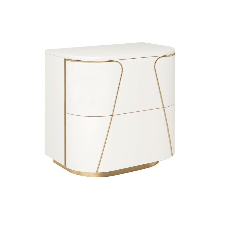 Designed by IC and realized by expert Italian artisans, the Gemma nightstand features rounded corners and brass – or powder coated metal – details. A beautiful design that will bring elegance and sophistication to any bedroom. Accessories and
