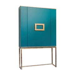 Isabella Costantini, Italy, Marion Drink Cabinet, Turquoise and Bronze Leaf
