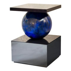 Isabella Costantini, Italy, Odilia Side Table, Lapis Blue and Dark Oak Glossy