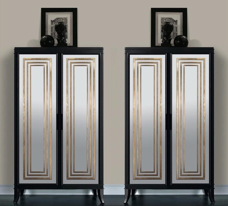 Designed by IC and realized by expert Italian artisans, the closet features two mirrored doors hiding four internal shelves. The panels are enriched with hand-applied gold leaf detailing which adds a glamorous allure to the piece. Accessories and