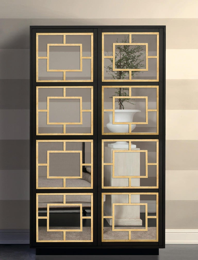 Italian Isabella Costantini, Italy, Zoe Armoire D40 Mirrored Doors and Plinth Base For Sale
