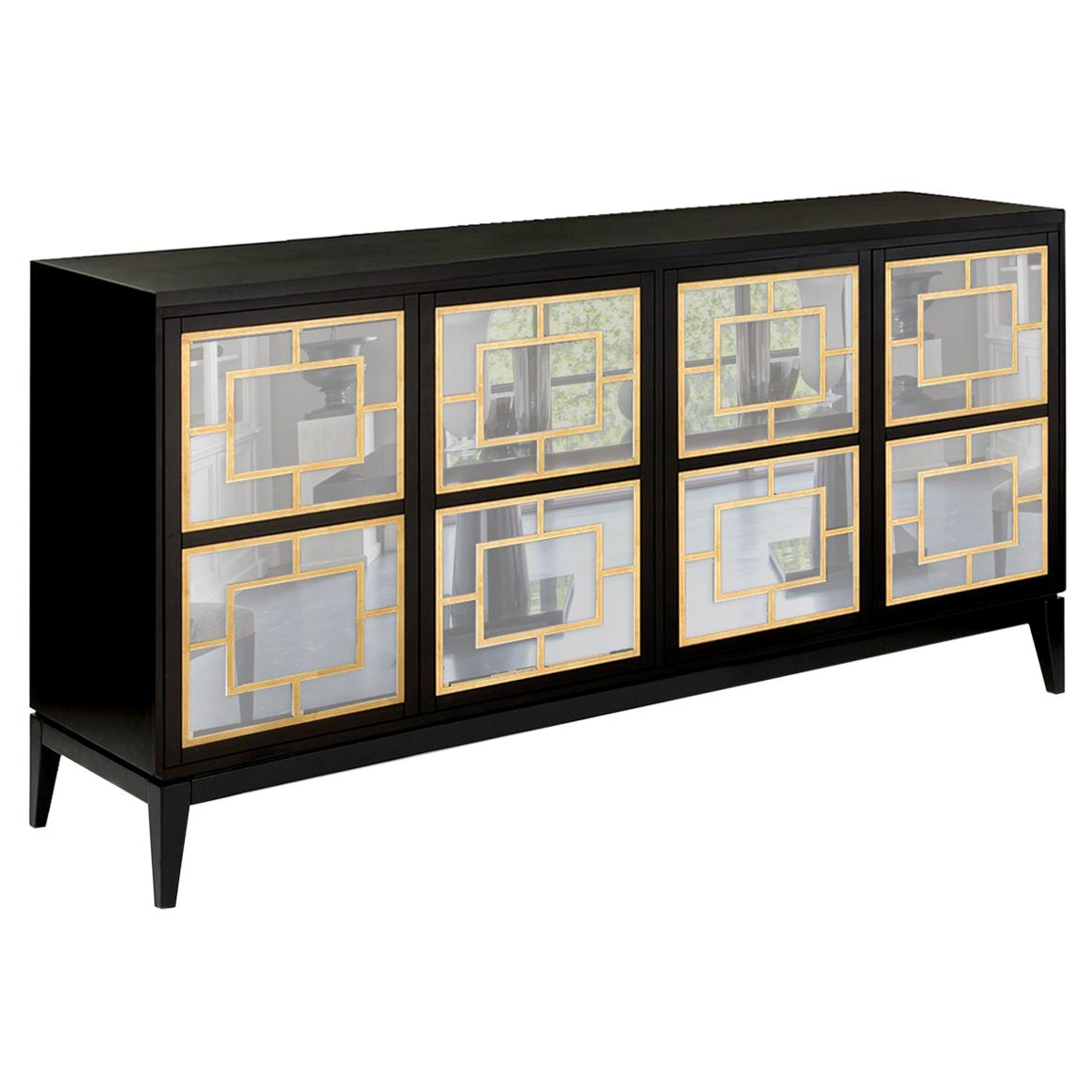Isabella Costantini, Italy, Zoe Sideboard Four Mirrored Doors and Tapered Legs