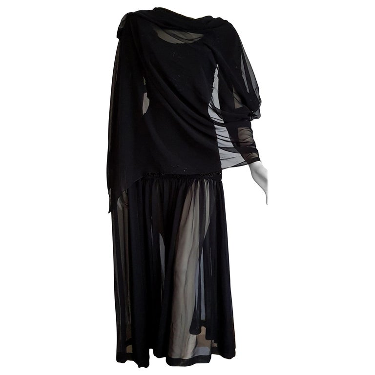Isabelle ALLARD Paris long draped chiffon sleeves, woolen bodice, embroidered, beaded, sequins, slightly transparent chiffon skirt, wool and silk black dress. Created in the atelier of the Rue Saint Honoré Paris - Unworn, New.  Isabelle ALLARD is a